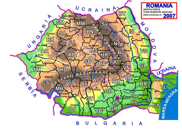 Romania harta fizica