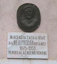 Placa memoriala prof. Iuliu Prodan